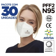 Máscara KN95 / PFF2 / N95 adulto branca - 30 unidades 5 camadas - dupla camada de meltblow BFE 98% + tnt spunbond hospitalar hipoalergenico