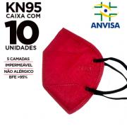 Máscara KN95 / PFF2 / N95  adulto vinho colorida - pacote 10 unidades 5 camadas meltblow BFE 98% + feltro de coton + tnt spunbond hospitalar hipoalergenico