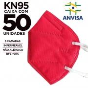 Máscara KN95 / PFF2 / N95 adulto vermelho colorida - caixa 50 unidades 5 camadas meltblow BFE 98% + feltro de coton + tnt spunbond hospitalar hipoalergenico