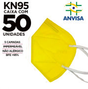 Máscara PFF2 / N95 / KN95 adulto amarela - caixa 50 unidades 5 camadas meltblow BFE 98% + feltro de coton + tnt spunbond hospitalar hipoalergenico