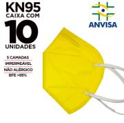 Máscara PFF2 / N95 / KN95 adulto amarela - pacote 10 unidades 5 camadas meltblow BFE 98% + feltro de coton + tnt spunbond hospitalar hipoalergenico