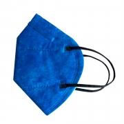 Máscara PFF2 / N95 / KN95 adulto Azul - pacote 50 unidades 5 camadas duplo meltblow BFE 98% + feltro de coton + tnt spunbond hospitalar hipoalergenico