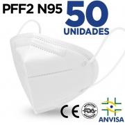 Mascara Respirador N95/PFF2 EXMEDI Caixa com 50 UN CE0598 5 camadas duplo meltblow BFE 98% + feltro de coton + tnt spunbond hospitalar hipoalergenico