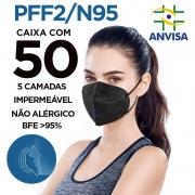 Máscara Respirador PFF2 / N95 preta 50 unidades 5 camadas duplo meltblow BFE 98% + feltro de coton + tnt spunbond hospitalar hipoalergenico