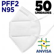 Máscara Respirador PFF2 / N95 / KN95 adulto branca - pacote 50 unidades