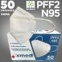 Máscara respirador PFF2 / N95 / kn95  - caixa 50 unidades com feltro de coton e meltblown BFE 98% hospitalar impermeável hipoalergênico