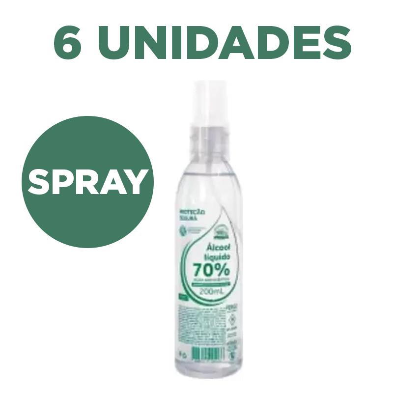 Álcool Líquido 70% 200ml Antisséptico Spray com hidratante - 6 unidades