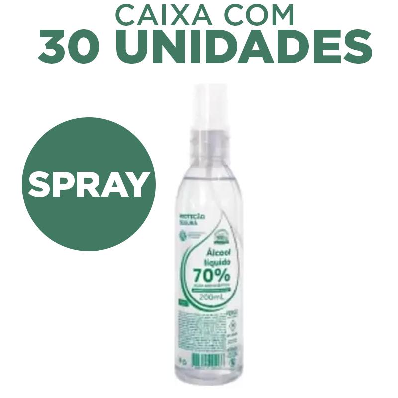 Álcool Líquido 70% 200ml Antisséptico Spray com hidratante - caixa 30 unidades