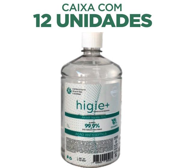 Álcool Líquido 70% Antisséptico Rel 1litro - caixa com 12 un.