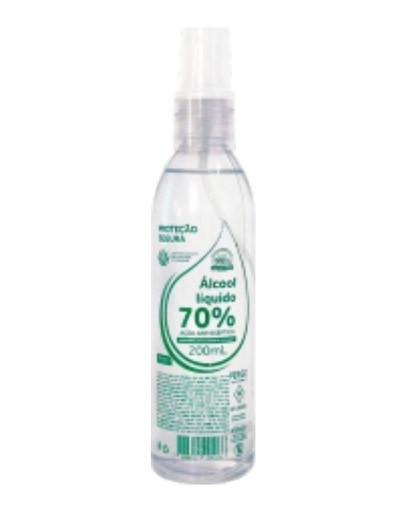 Álcool Líquido 200ml 70% Antisséptico Spray com hidratante