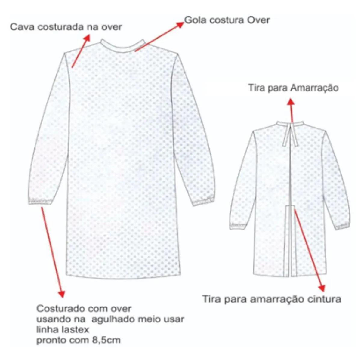 AVENTAL DESCARTÁVEL MANGA LONGA  Pacote com 100 aventais - gramatura 40g