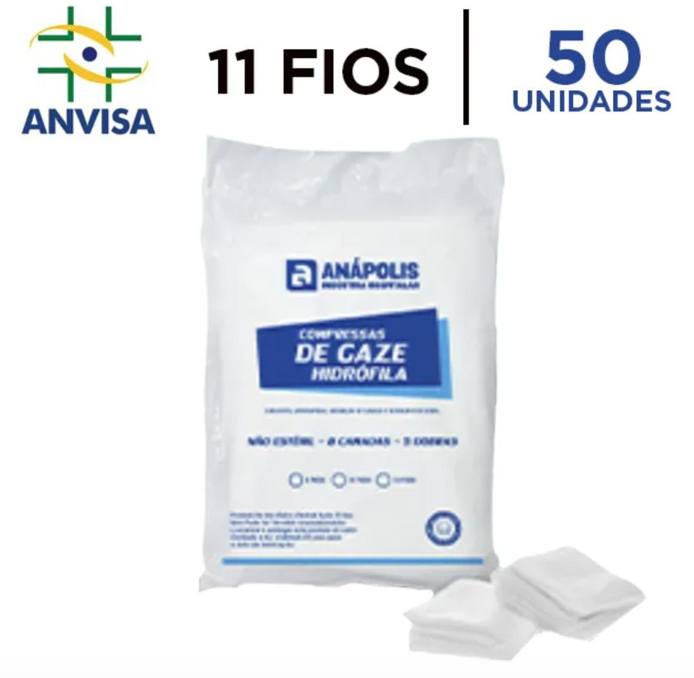 Compressa de Gaze Hidrófila Não Estéril 11 fios pacote com 50 unidades