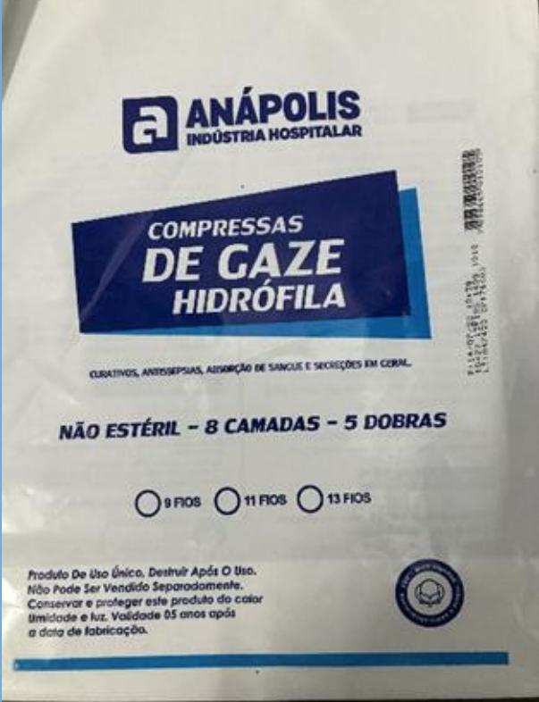 Compressa de Gaze Hidrófila Não Estéril 13 fios pacote com 50 unidades