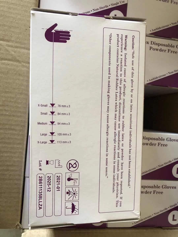 Luvas descartáveis de látex - caixa com 100 unidades