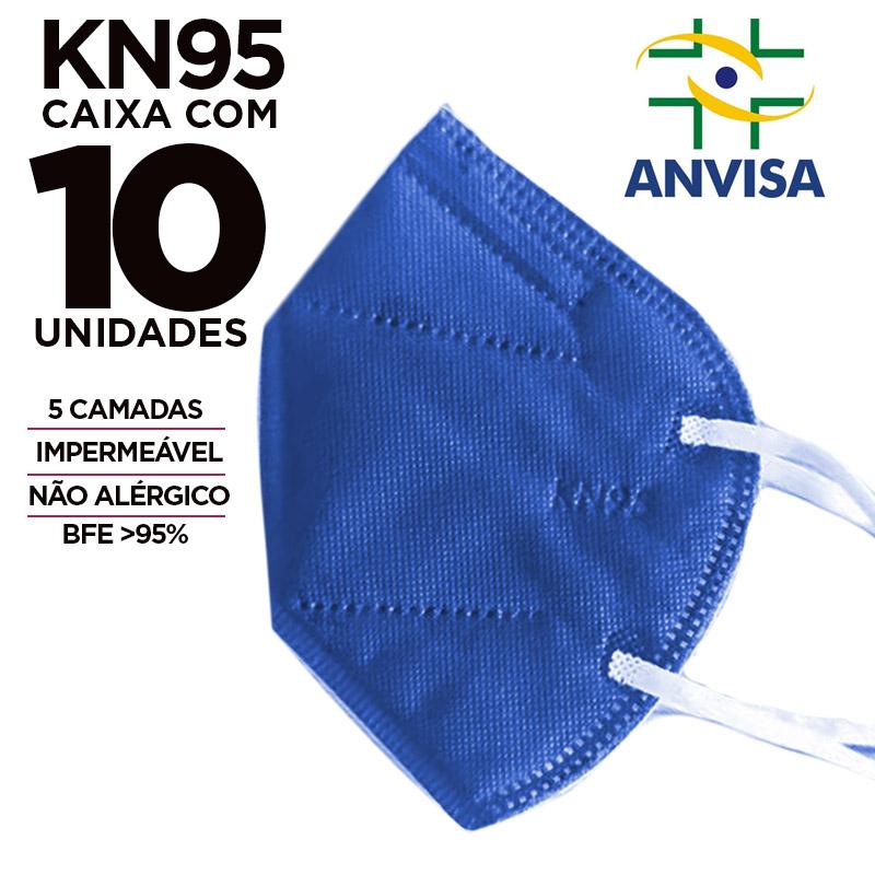Máscara KN95 / N95 / PFF2 adulto azul - pacote 10 unidades