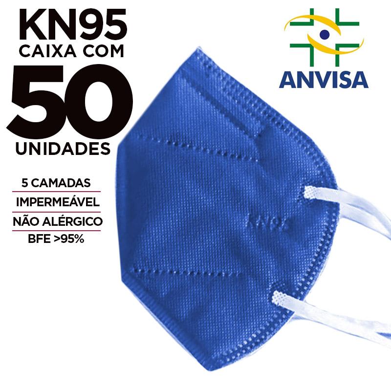 Máscara KN95 / N95 / PFF2 adulto azul - caixa 50 unidades
