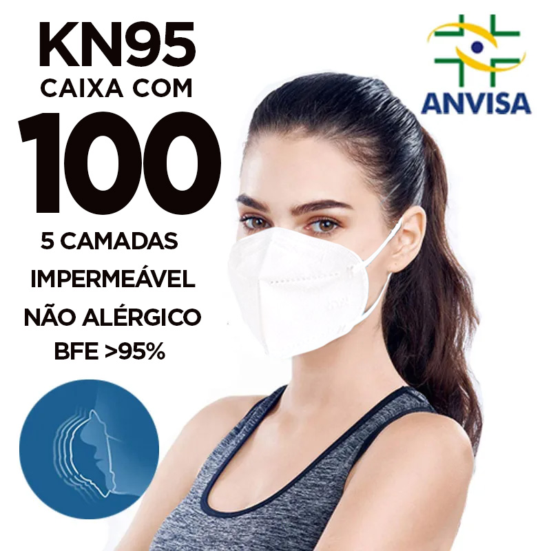Máscara PFF2 / N95 / KN95 adulto branca - 2 caixas com 50 unidades 5 camadas meltblow BFE 98% + feltro de coton + tnt spunbond hospitalar hipoalergenico