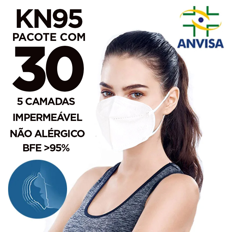 Máscara PFF2 / N95 / KN95 adulto branca - 3 pacotes com 10 unidades 5 camadas duplo meltblow BFE 98% + feltro de coton + tnt spunbond hospitalar hipoalergenico