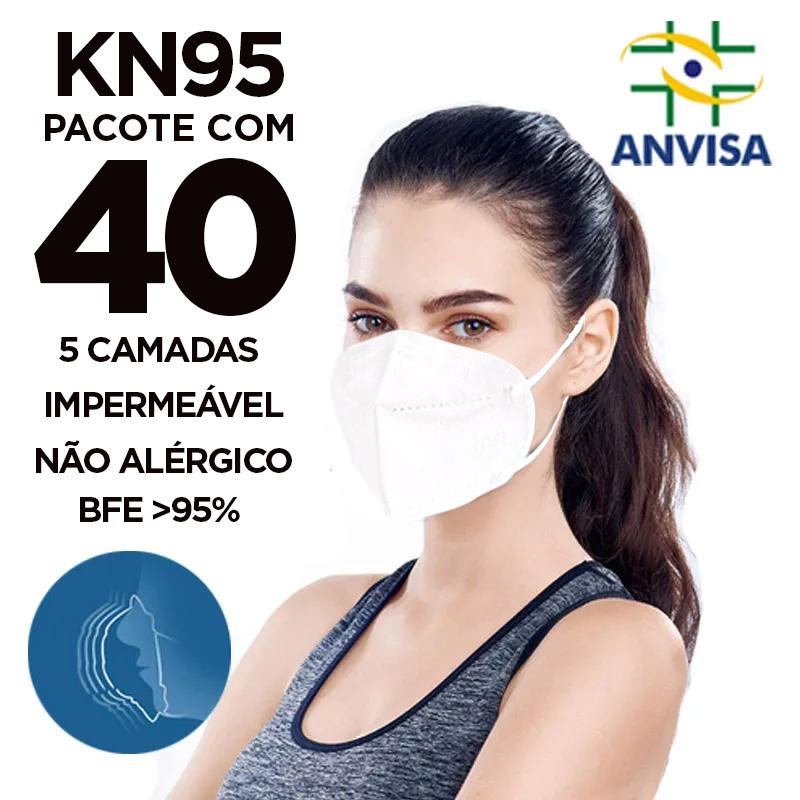 Máscara PFF2 / N95 / KN955 adulto branca - 4 pacotes com 10 unidades 5 camadas duplo meltblow BFE 98% + feltro de coton + tnt spunbond hospitalar hipoalergenico