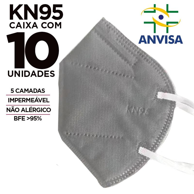 Máscara PFF2 / N95 / KN95 adulto cinza colorida - pacote 10 unidades 5 camadas meltblow BFE 98% + feltro de coton + tnt spunbond hospitalar hipoalergenico