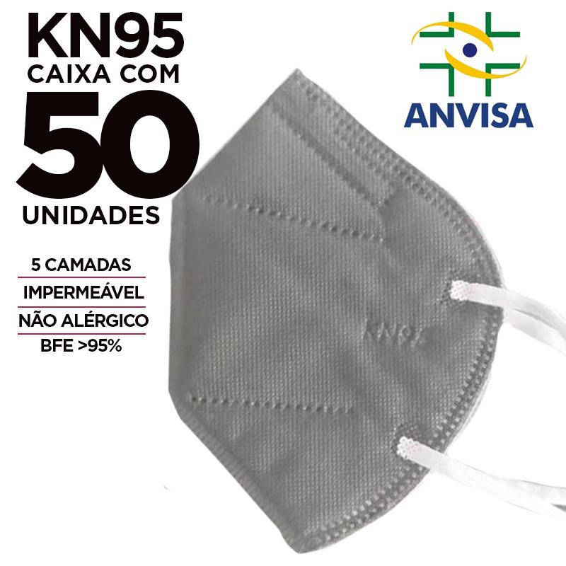 Máscara PFF2 / N95 / KN95 adulto cinza colorida - caixa 50 unidades 5 camadas meltblow BFE 98% + feltro de coton + tnt spunbond hospitalar hipoalergenico