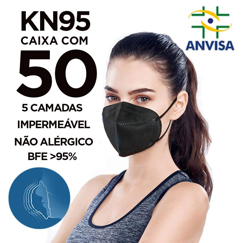 Máscara KN95 / N95 / PFF2 adulto preta - caixa 50 unidades