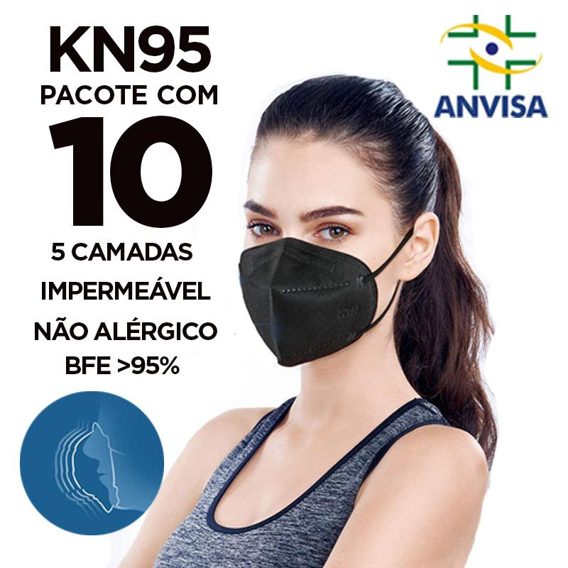 Máscara PFF2 / N95 / KN95 adulto preta - pacote 10 unidades 5 camadas meltblow BFE 98% + feltro de coton + tnt spunbond hospitalar hipoalergenico