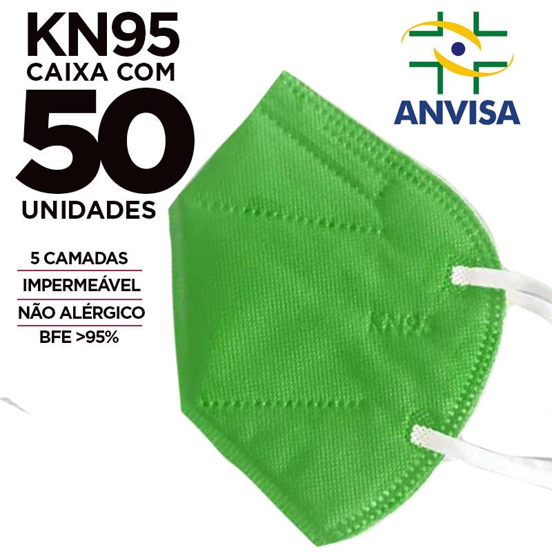 Máscara KN95 / N95 / PFF2 adulto verde - caixa 50 unidades