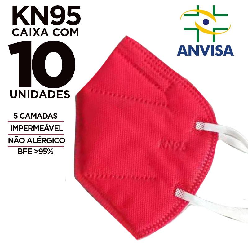 Máscara PFF2 / N95 / KN95 adulto vermelha colorida - pacote 10 unidades 5 camadas meltblow BFE 98% + feltro de coton + tnt spunbond hospitalar hipoalergenico