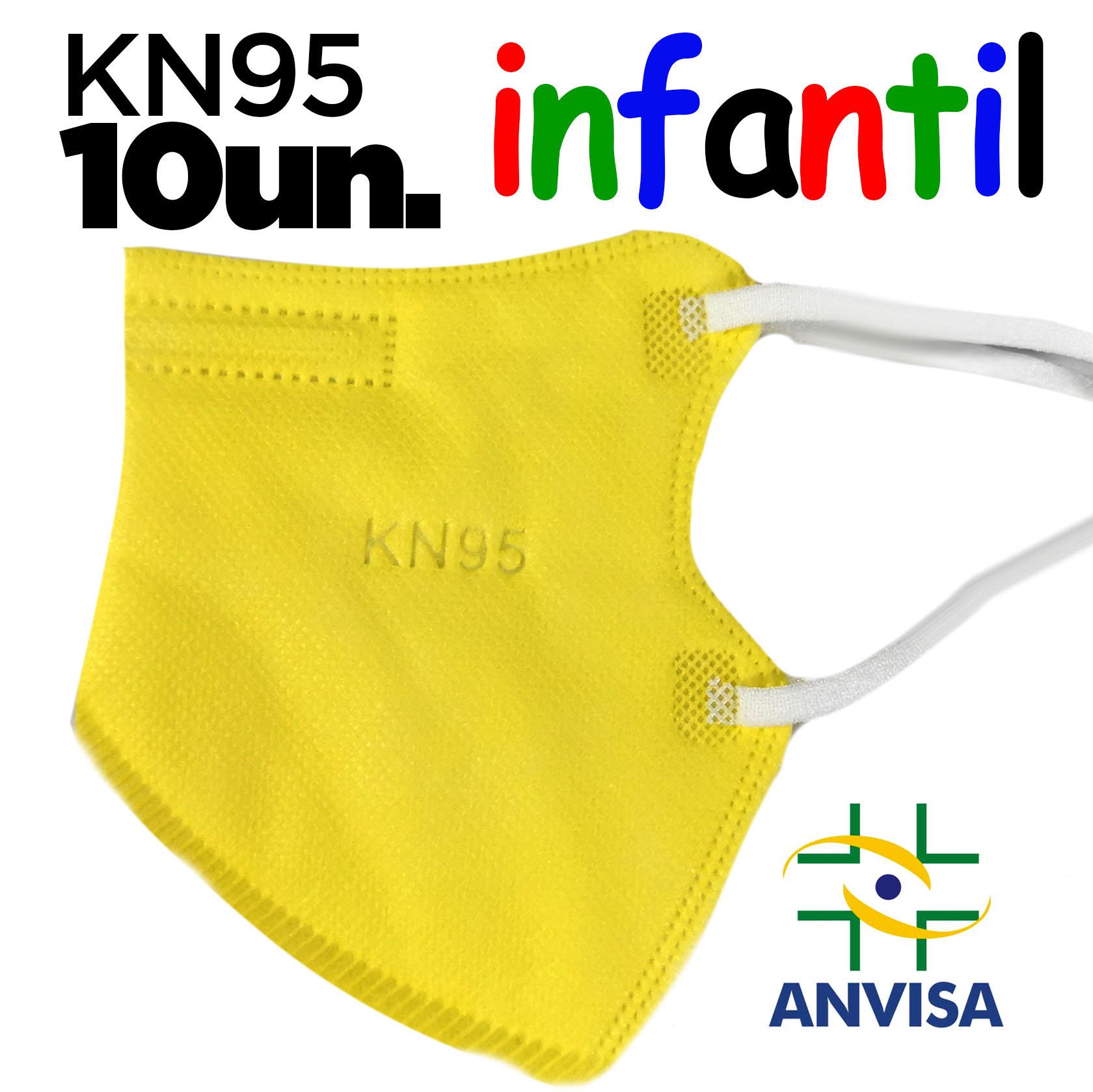 Máscara KN95 / PFF2 / N95  infantil amarela colorida - caixa 10 unidades 5 camadas meltblow BFE 98% + feltro de coton + tnt spunbond hospitalar hipoalergenico