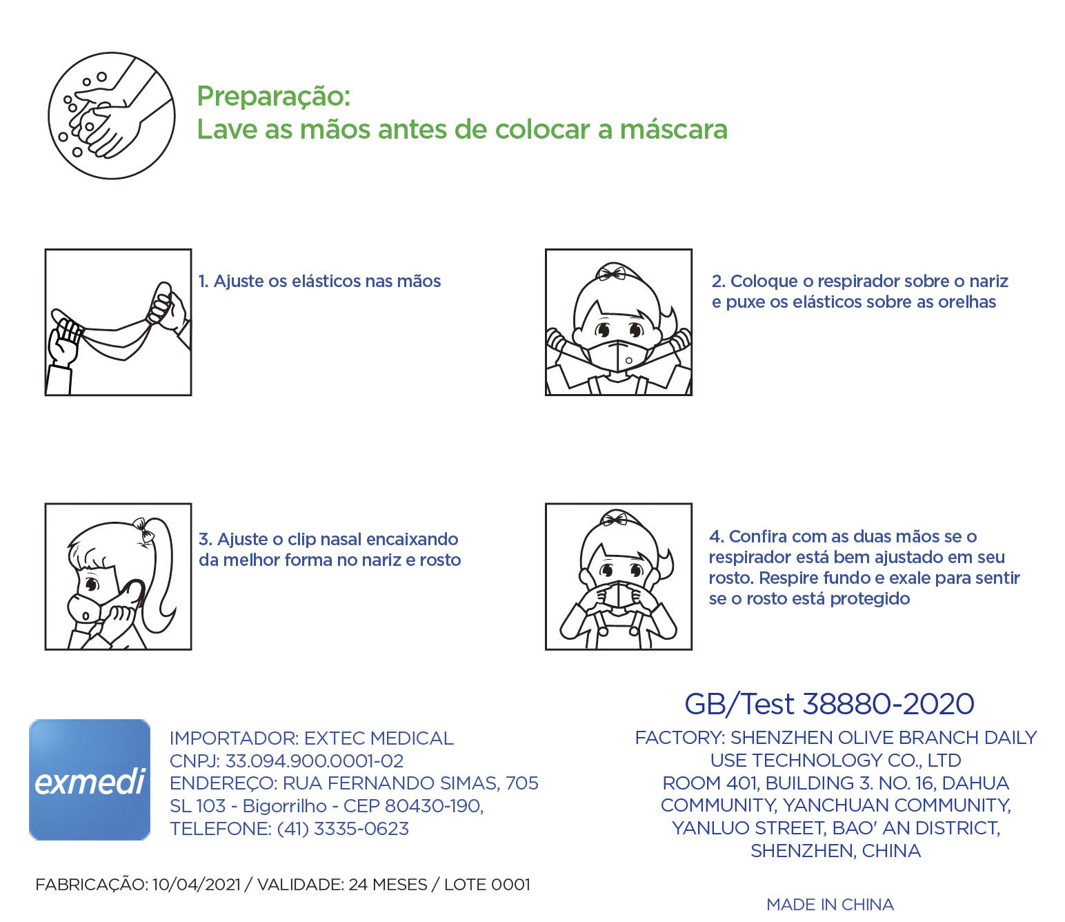 Máscara KN95 / N95 / PFF2 infantil azul - caixa 10 unidades