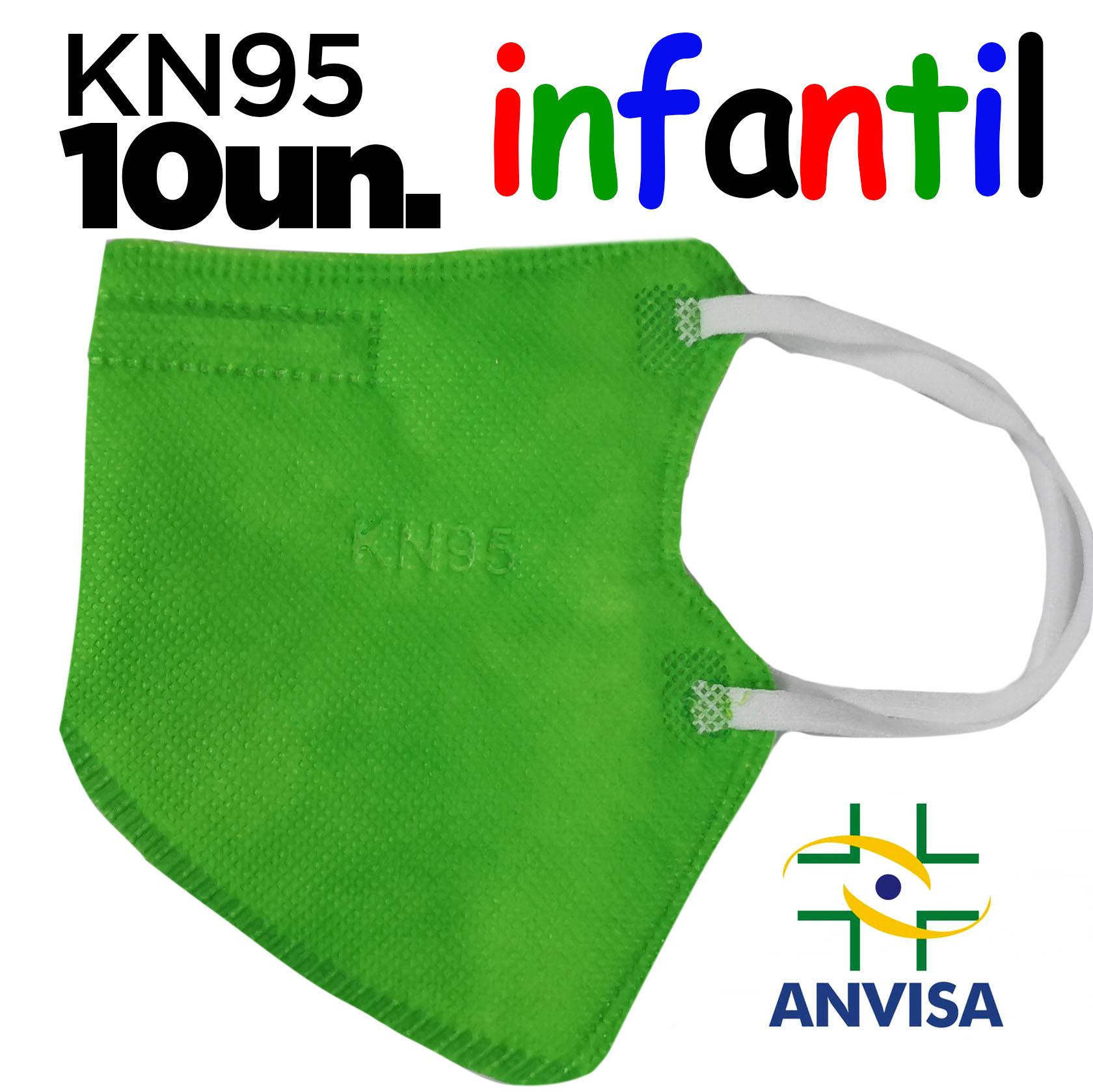 Máscara KN95 / N95 / PFF2 infantil verde - caixa 10 unidades
