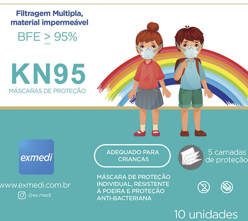 Máscara KN95 / PFF2 / N95  infantil rosa colorida - caixa 10 unidades 5 camadas meltblow BFE 98% + feltro de coton + tnt spunbond hospitalar hipoalergenico
