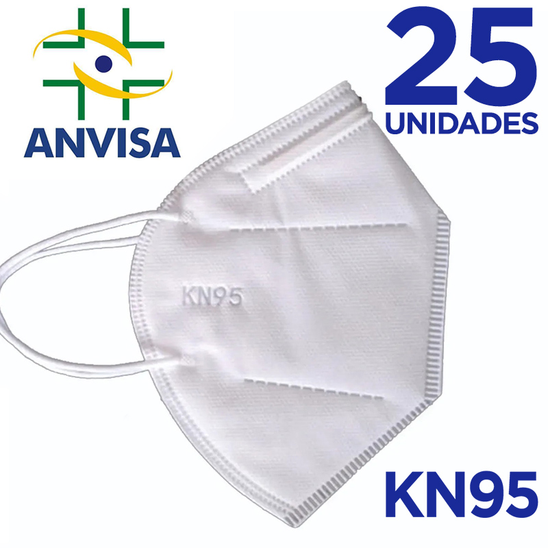 Máscara KN95/N95 sem válvula (com ANVISA) - 25 unidades
