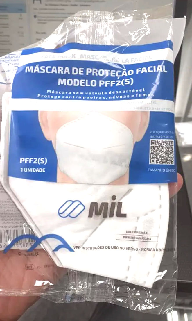 Máscara PFF2 c/ C.A 44.735 - Registro no Ministério do Trabalho - Pacote com 10 unidades