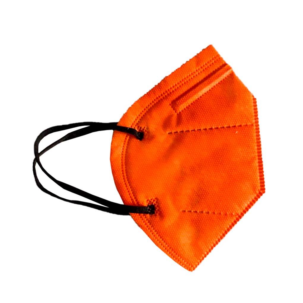 Máscara PFF2 / N95 / KN95 adulto laranja - pacote 10 unidades 5 camadas duplo meltblow BFE 98% + tnt spunbond hospitalar hipoalergenico