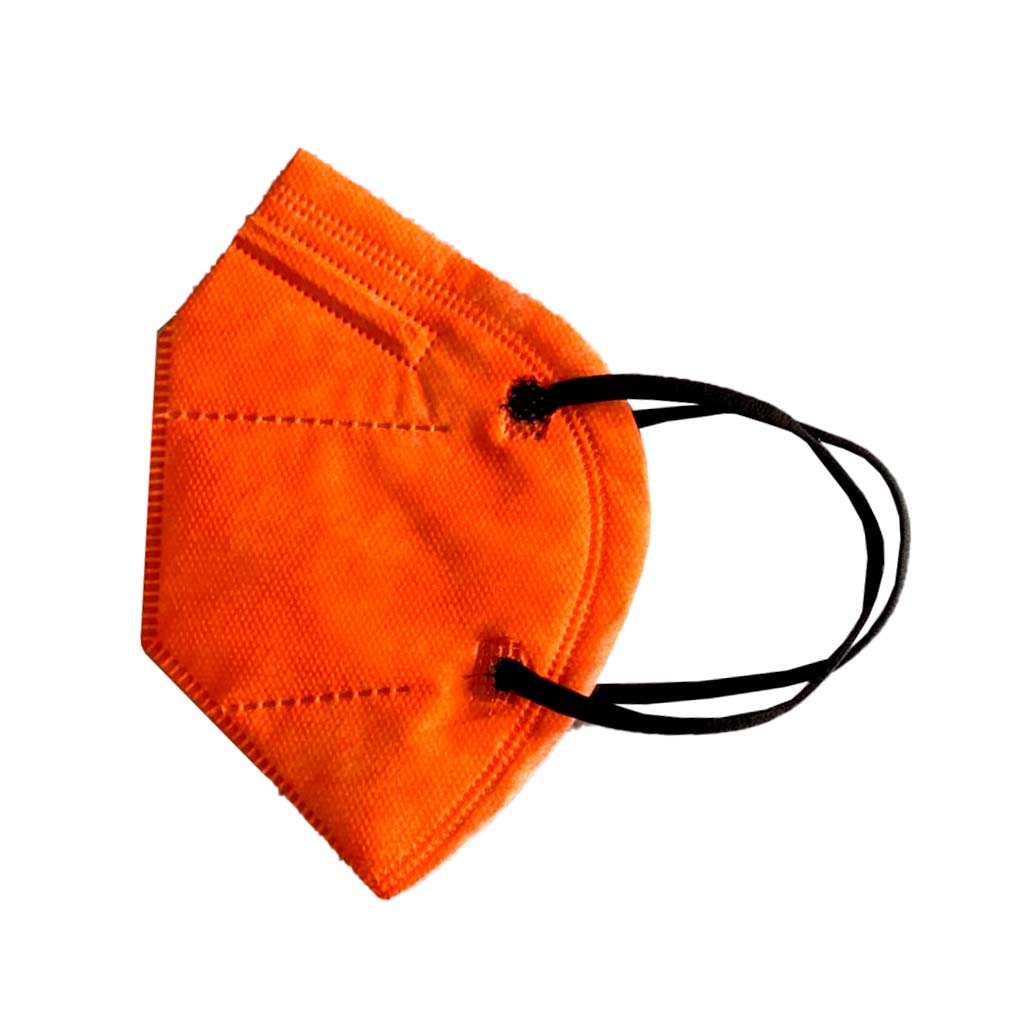 Máscara PFF2 / N95 / KN95 adulto laranja - pacote 50 unidades 5 camadas duplo meltblow BFE 98% + feltro de coton + tnt spunbond hospitalar hipoalergenico
