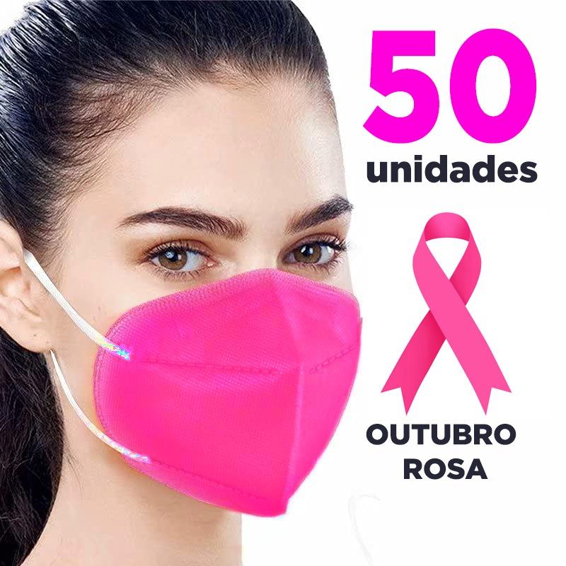 Máscara PFF2 / N95 / KN95 adulto pink - pacote 50 unidades 5 camadas duplo meltblow BFE 98% + feltro de coton + tnt spunbond hospitalar hipoalergenico