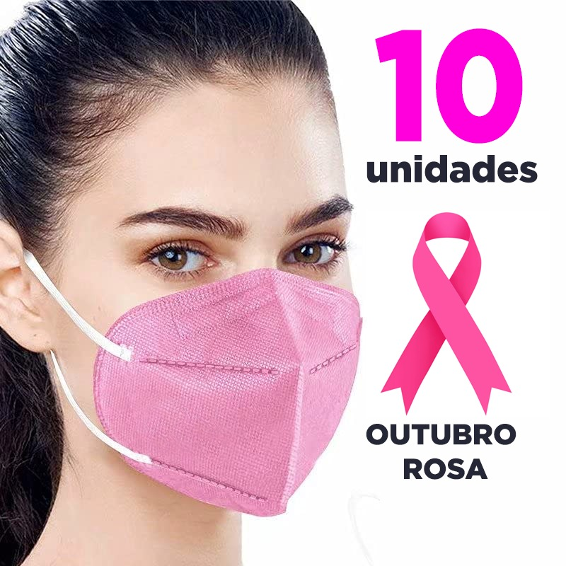 Máscara PFF2 / N95 / KN95 adulto rosa claro - pacote 10 unidades 5 camadas duplo meltblow BFE 98% + feltro de coton + tnt spunbond hospitalar hipoalergenico