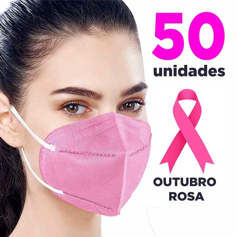 Máscara PFF2 / N95 / KN95 adulto rosa claro - pacote 50 unidades 5 camadas duplo meltblow BFE 98% + feltro de coton + tnt spunbond hospitalar hipoalérgico