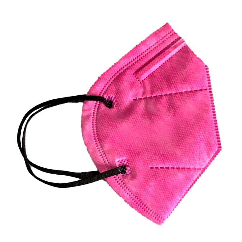 Máscara PFF2 / N95 / KN95 adulto pink - pacote 10 unidades 5 camadas duplo meltblow BFE 98% + feltro de coton + tnt spunbond hospitalar hipoalergenico