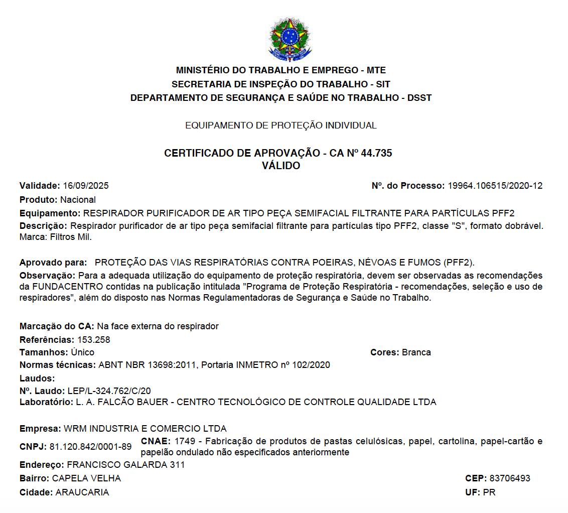 Máscara PFF2 c/ C.A 44.735 - Registro no Ministério do Trabalho - Pacote com 50 unidades