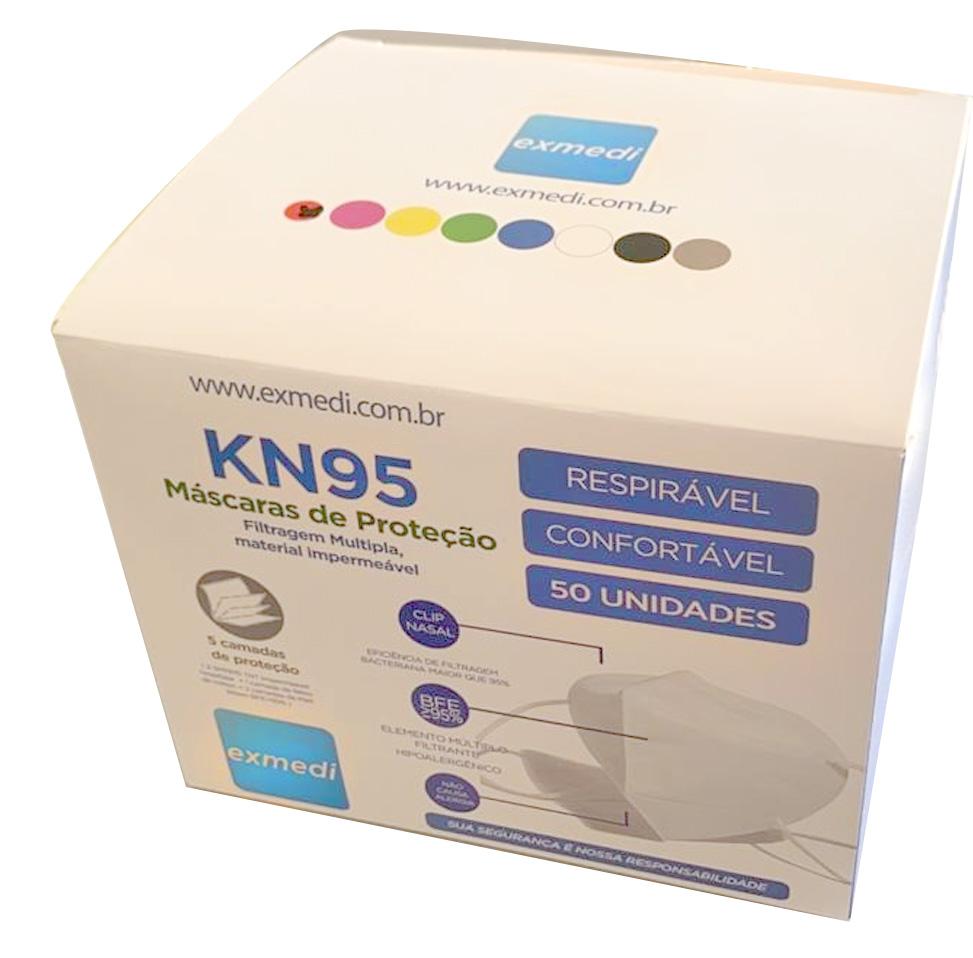 Mascara Respirador N95/PFF2 EXMEDI Caixa com 50 UN CE0598 5 camadas meltblow BFE 98% + feltro de coton + tnt spunbond hospitalar hipoalergenico