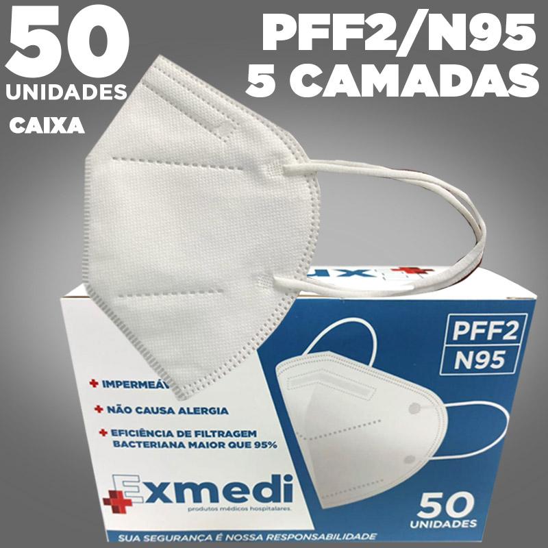 Máscara respirador PFF2 N95 - 5 camadas de proteção - caixa 50 unidades