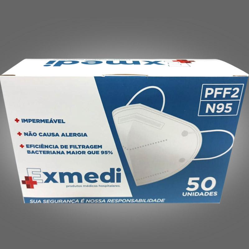 Máscara respirador PFF2 / N95 similar kn95  - caixa 50 unidades com feltro de coton e meltblown BFE 98% hospitalar impermeável hipoalergênico