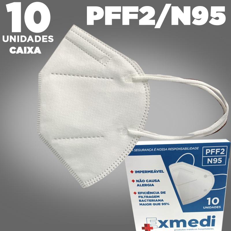 Máscara respirador PFF2/N95 - caixa com 10 unidades  - com feltro de cotton e meltblown BFE 95% similar KN95