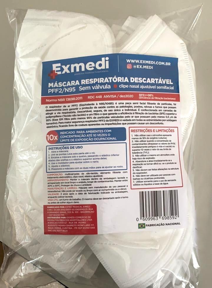 Máscara Respirador PFF2 - N95 adulto branca - pacote 50 unidades similar KN95