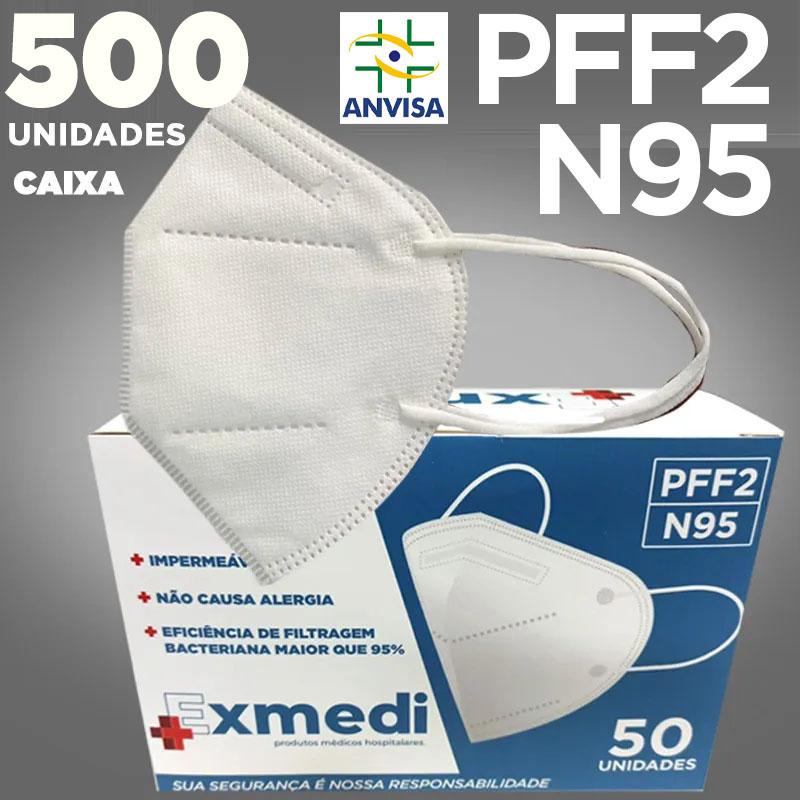 Máscara respirador PFF2 / N95 similar kn95  - 10 caixas de 50 unidades com feltro de coton e meltblown BFE 98% hospitalar impermeável hipoalergênico