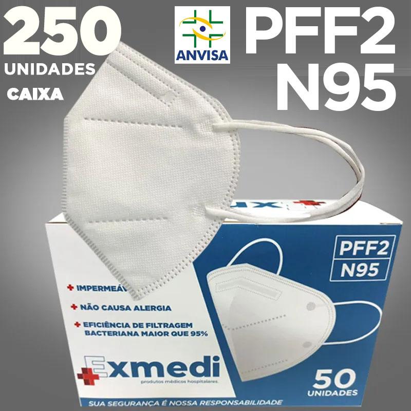 Máscara respirador PFF2 / N95 similar kn95  - 5 caixas de 50 unidades com feltro de coton e meltblown BFE 98% hospitalar impermeável hipoalergênico