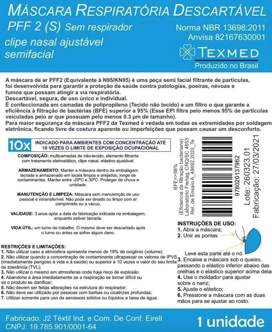 Máscara Respirador PFF2 pacote 100 unidades - ANVISA 82167630001